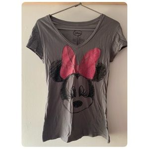 DISNEY Minnie Mouse Glitter Bow Sketch Shirt
